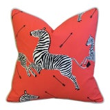 """Image of Scalamandre Iconic Zebra & Velvet Feather/Down Pillow 20"""" Square For Sale"""