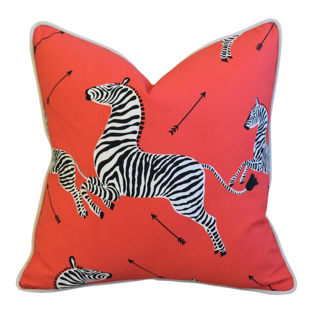 "Scalamandre Iconic Zebra & Velvet Feather/Down Pillow 20"" Square For Sale"