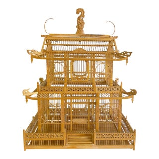 Birdcage - Large Scale 2 Tier Pagoda Style Bamboo Material Carved Wood Vintage For Sale