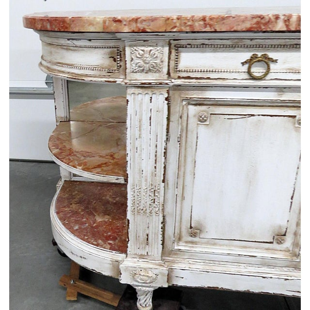 Country Antique Marble Top Paint Decorated Sideboard For Sale - Image 3 of 10