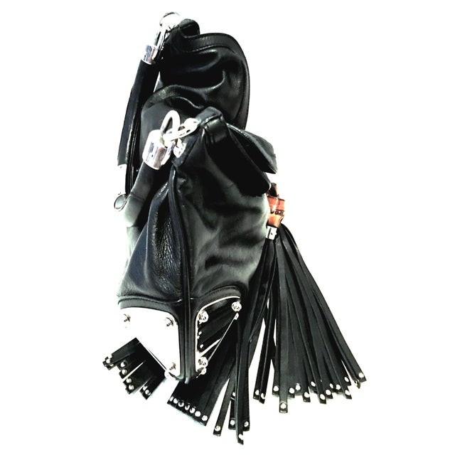 """Gucci 21st Century Gucci Black Leather & Chrome """"Indy"""" Hobo Hand Bag For Sale - Image 4 of 13"""