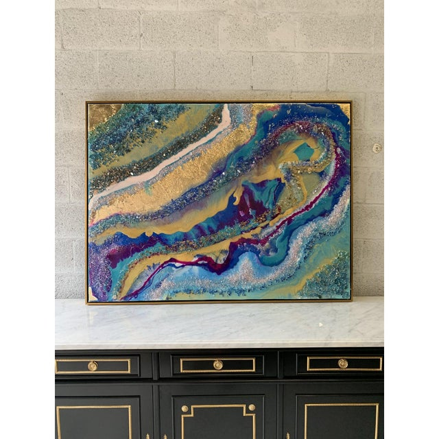 Monumental abstract framed oil painting with Gloss resin and gold leaf with rock crystal and piece of mirror. Beautiful...