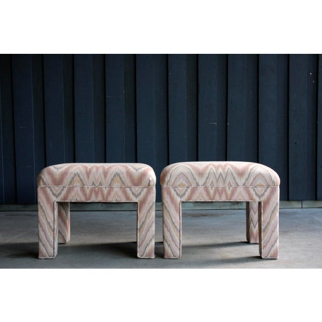 Abstract 1980s Contemporary Flamestitch Parsons Ottomans, a Pair For Sale - Image 3 of 10