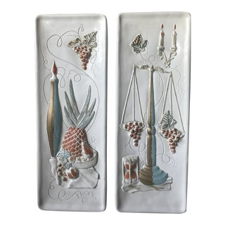 Pair of Art Nouveau Style Chalkware Wall Plaques For Sale
