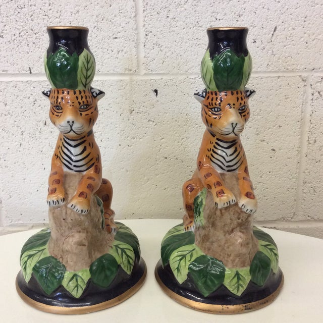 Gold Hollywood Regency Ceramics Cheetah Candle Holders - a Pair For Sale - Image 8 of 8