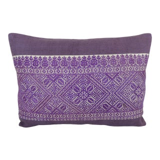Antique Purple and White Embroidered Fez Bolster Pillow For Sale