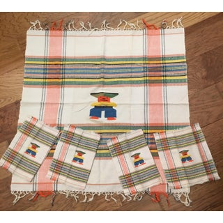 Mid-Century Aztec Tablecloth & Napkins - Set of 5 Preview