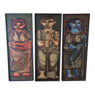 Jorge Dumas Cubist Figure Oil Paintings - Set of 3 For Sale