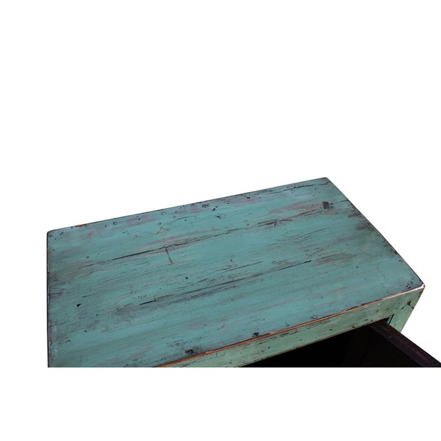 Wood Oriental Distressed Aqua Green Lacquer Side End Table Nightstand For Sale - Image 7 of 8