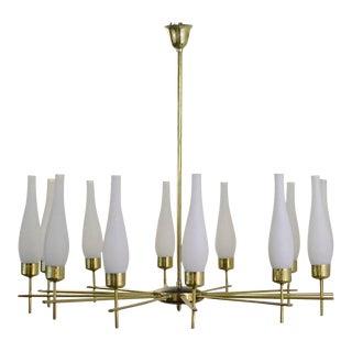1960s Italian Chandelier in Brass and Opaline Glass For Sale