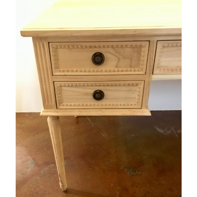Traditional Ave Home Transitional Natural Wood Colette Writing Desk For Sale - Image 3 of 7