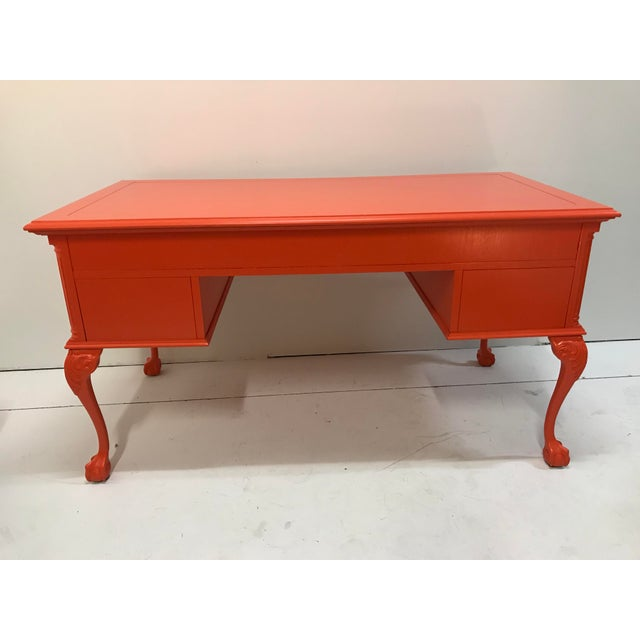 Vintage Chippendale Claw and Ball Foot Cabriole Leg Painted Partners Desk For Sale - Image 6 of 12