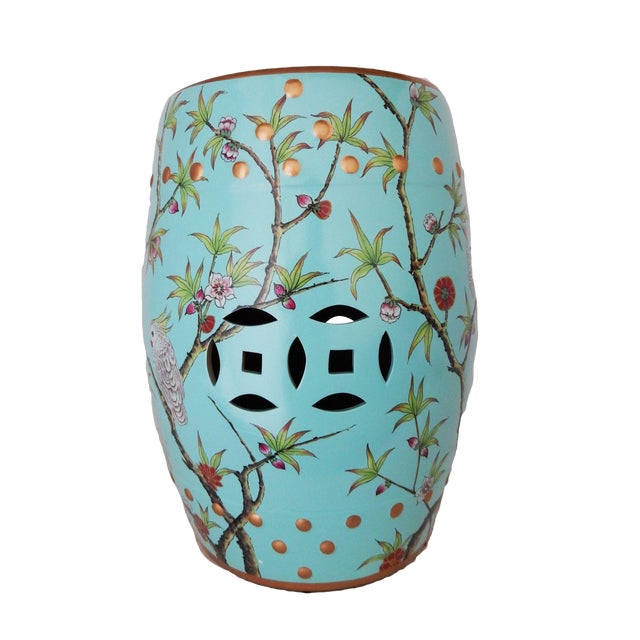 Turquoise Garden Seat - Image 1 of 6