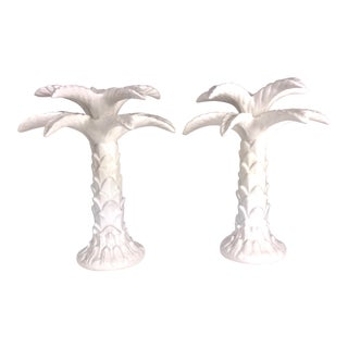 Vintage Italian Palm Tree Ceramic Candle Sticks - a Pair For Sale