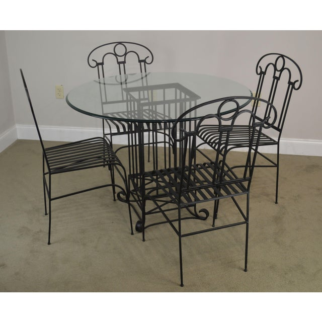 Wrought Iron Round Table.Wrought Iron Dining Table And 4 Chairs Set