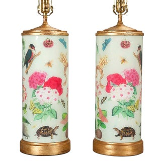 Decalcomania Gilt-Wood Mounted Glass Lamps - A Pair For Sale