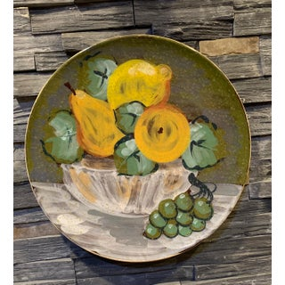 Italian Hand Painted Ceramic Wall Plate With Bowl of Fruit Design Preview