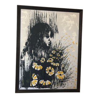 Midcentury 1960s Hippie Daisy Lithograph For Sale