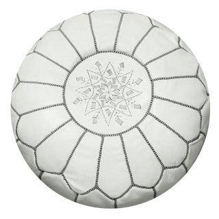 White and Gray Moroccan Pouf For Sale