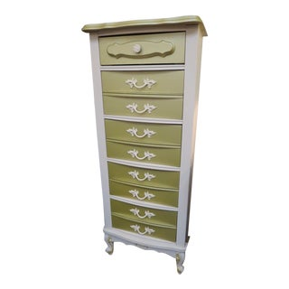 Vintage French Style Painted 5 Drawer Lingerie Chest For Sale