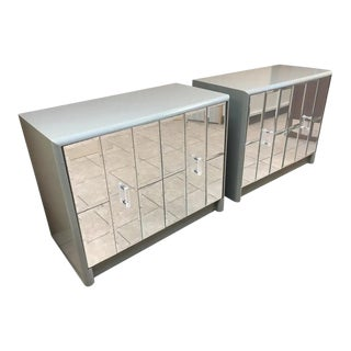 Hollywood Regency Mirrored Front Cabinets - a Pair For Sale