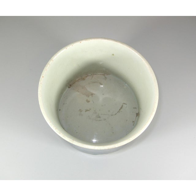 Up for sale is a large antique Chinese slightly waisted porcelain brush pot/Bitong* decorated with greyish-blue under a...