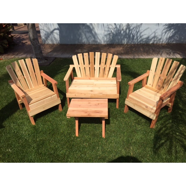 Natural Redwood Patio Set - Set of 4 - Image 4 of 11