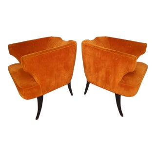 Rare Mid-Century Barrel Back Armchairs - A Pair For Sale