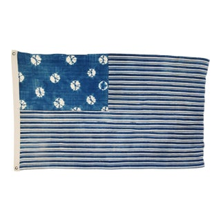 "Boho Chic Indigo Blue & White Flag From African Textiles 58"" X 36"""
