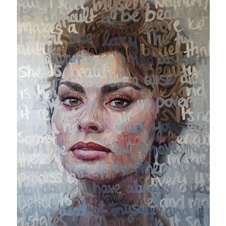 Expressionist Oil Portrait of Sofia Loren For Sale