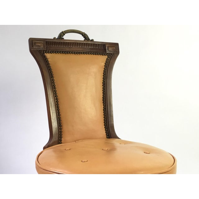 Regency Style Brass Handle Leather Chair - Image 5 of 8