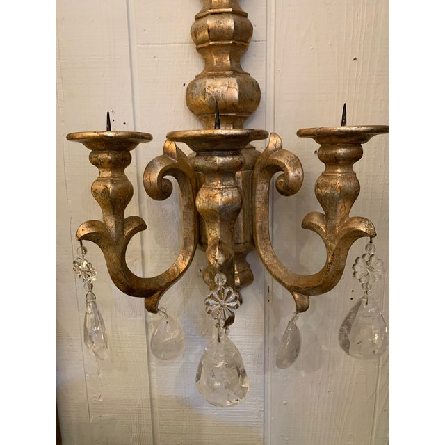 French Designer Giltwood Candle Sconces -A Pair For Sale - Image 3 of 13