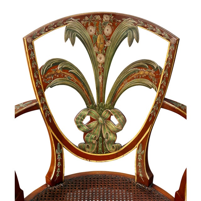 Edwardian Satinwood and Painted Armchair For Sale - Image 4 of 11