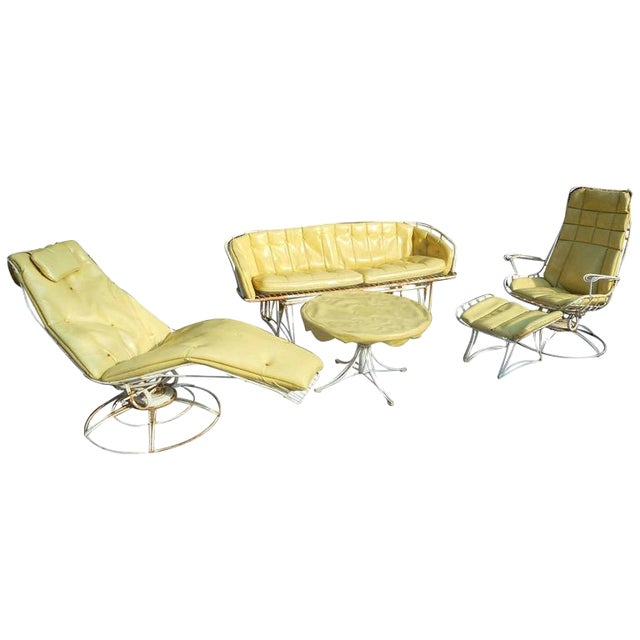 Mid Century Modern Five Piece Wrought Iron Homecrest Patio Set By Harry Bertoia For