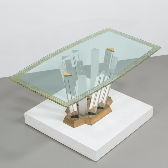 A Superb Lucite and Bronze Dining Table with Unique Glass Top - Image 4 of 11
