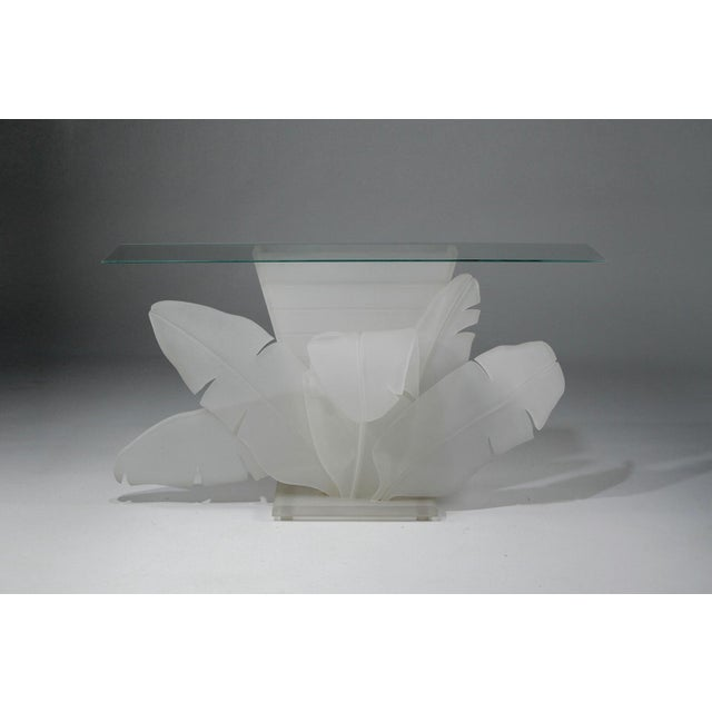 1970s Mid-Century Modern Luminous Electrified Frosted Lucite Palm Motife Console Table For Sale - Image 13 of 13