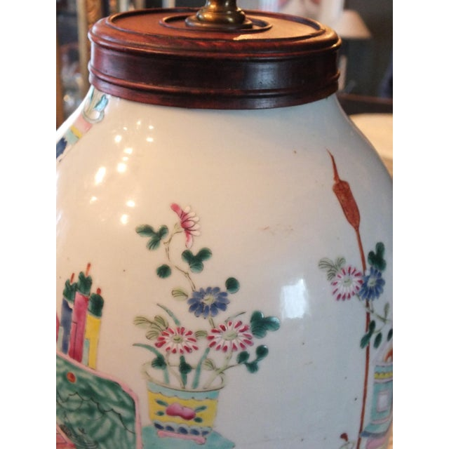Antique Asian Famille Rose Lamp - Image 7 of 11