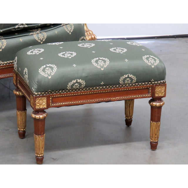 Hollywood Regency Jansen Regency Style Chair & Ottoman - A Pair For Sale - Image 3 of 10