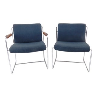 Vintage 1960s Architectural Modern Chrome Office Guest Chairs - a Pair For Sale