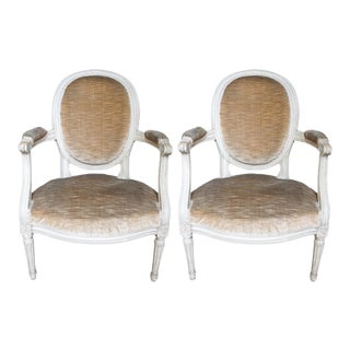 French Louis XVI Style Fauteuils - a Pair For Sale