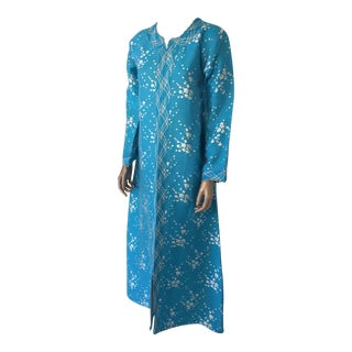 Vintage Moroccan Designer Kaftan Turquoise Maxi Dress Kaftan Size Small For Sale