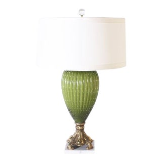 Green Murano Glass Lamp With Original Brass and Marble Base, C. 1950 For Sale