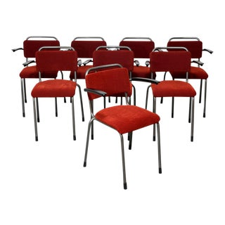 Set of 8 Upholstered Gispen Arm Chairs For Sale