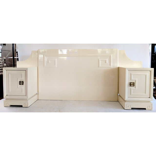 Kittinger Customized Asian Lacquered Headboard with Nightstands For Sale - Image 11 of 11
