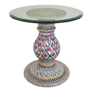 Mackenzie Childs Beveled Glass Top Dining Center Table For Sale