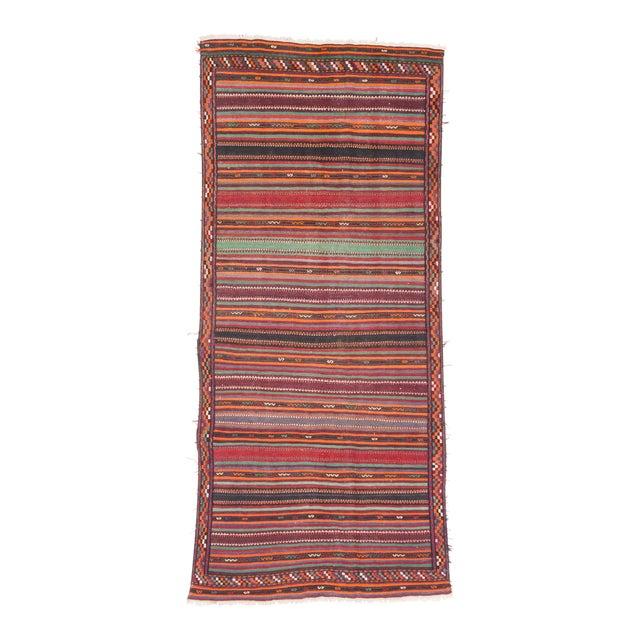 """QASHQAI Vintage Persian Kilim Rug, 5'1"""" x 11'0"""" feet - Image 1 of 3"""
