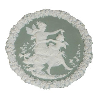 Round Celadon Jasperware Plaque For Sale