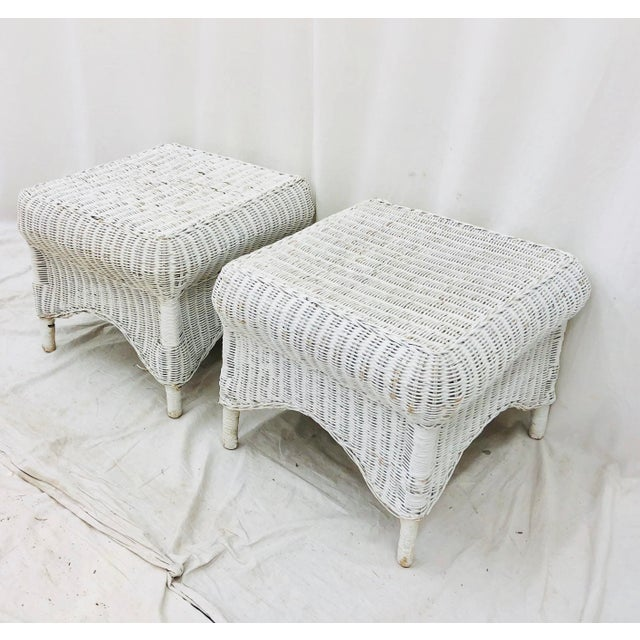 Heywood-Wakefield Pair Vintage Woven Wicker Ottomans For Sale - Image 4 of 10