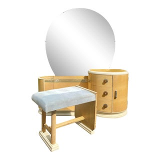 French Art Deco Vanity & Stool Set - 2 Pieces For Sale