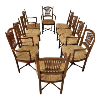 Rush Seat French Country Woven Arm Chairs - Set of 10 For Sale